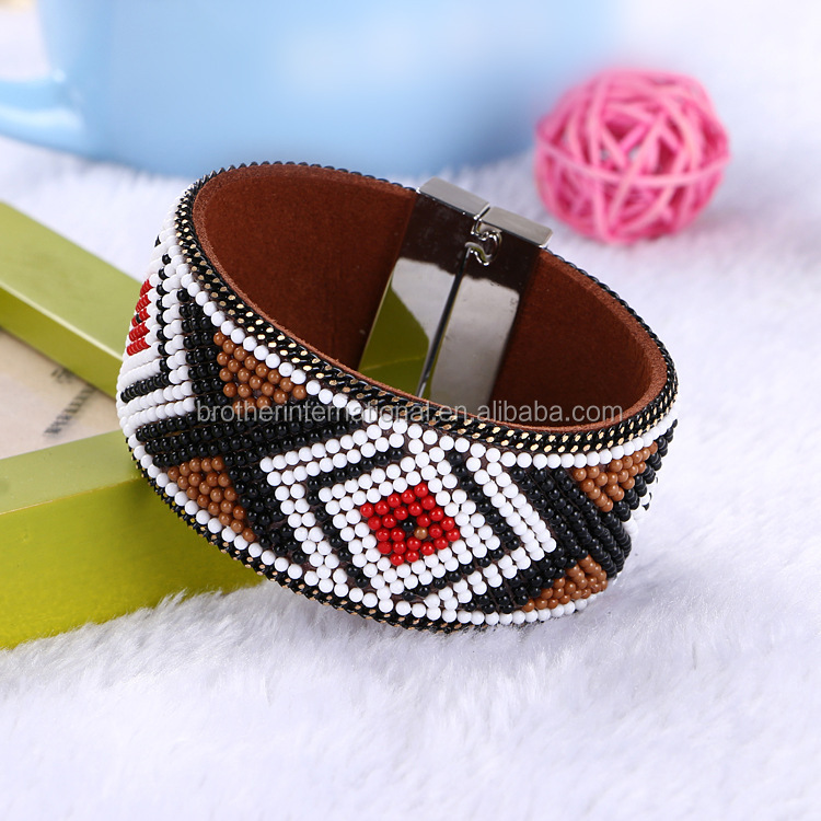 exotic brazil cuff bracelet with handmade woven beads magnetic closure bohemian bracelet