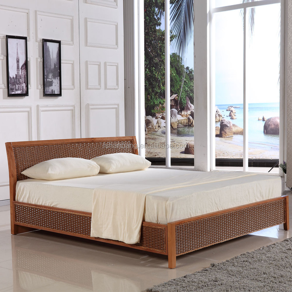 Latest Double Bed Designs Natural Rattan Bed Sets Double French