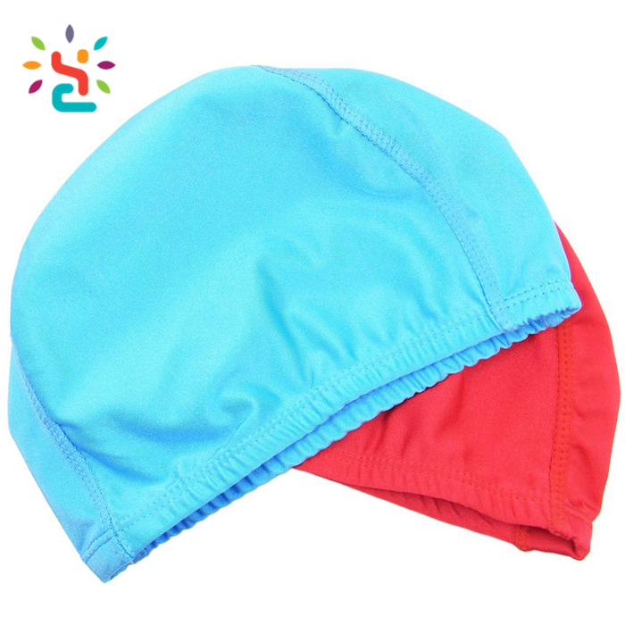 Promotional 100% Spandex Swim Caps For Water Sports Children kids slouch swimming caps wholesale alibaba blue swim cap