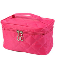 Red Folding Makeup Toiletry Case Bags Women Ladies Nylon Packaging Cosmetic Box