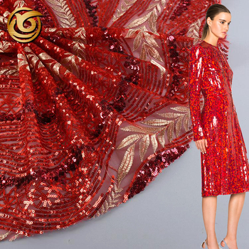 Online shopping beautiful comfortable red 100 polyester hand embroidered sequin fabric