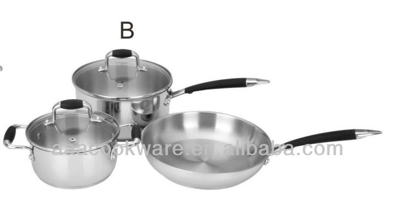 Best sales 6 pcs Stainless Steel Cookware Set/Kitchenware/Glass cover/casting handle
