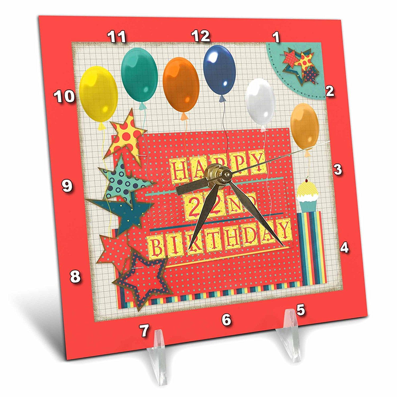 Beverly Turner Birthday Design - 22nd Birthday, Balloons, Cupcake, Stars, Block Letter, Orange, Green - 6x6 Desk Clock (dc_240777_1)