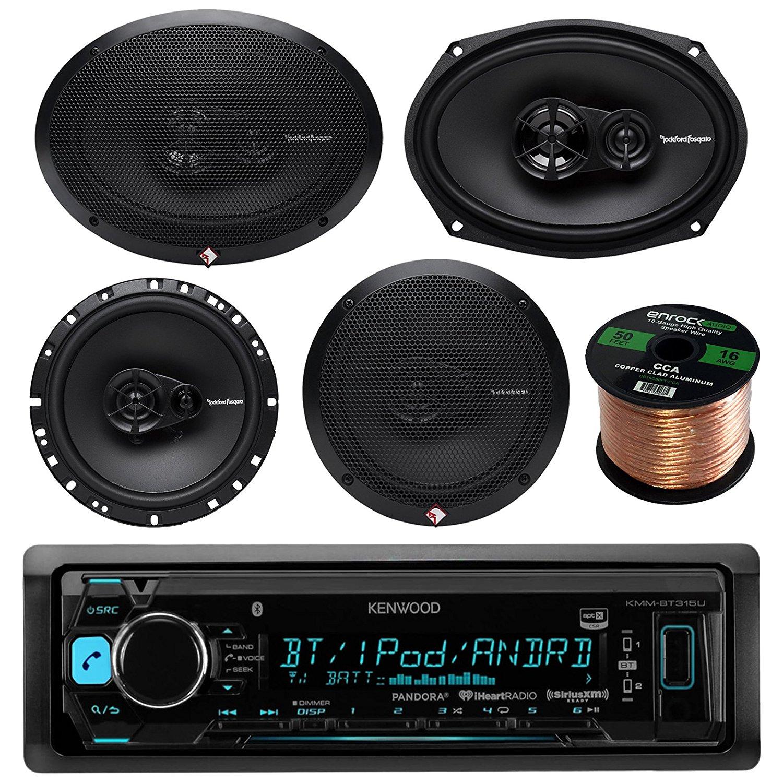 """Kenwood KMMBT315U Bluetooth AM/FM USB AUX Car Receiver Bundle Combo W/ 2x Rockford Fosgate 6.5"""" 180 Watt 3-Way Full-Range Coaxial Speaker + 2x 6x9"""" Audio Speaker + 50Ft Wire (Without Amplifier)"""