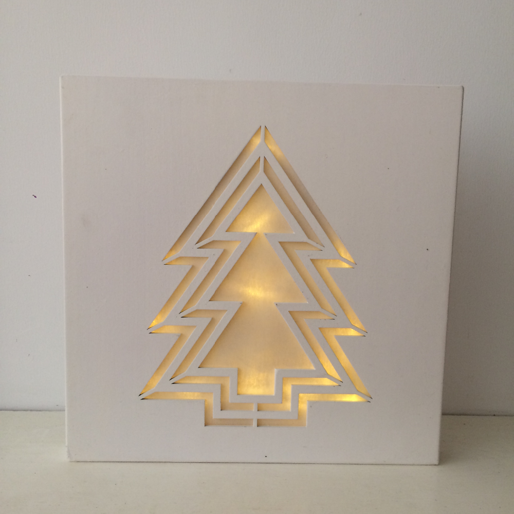 Customize Wooden Led Decorative Light Box Battery Operated Christmas Personalized Lamp