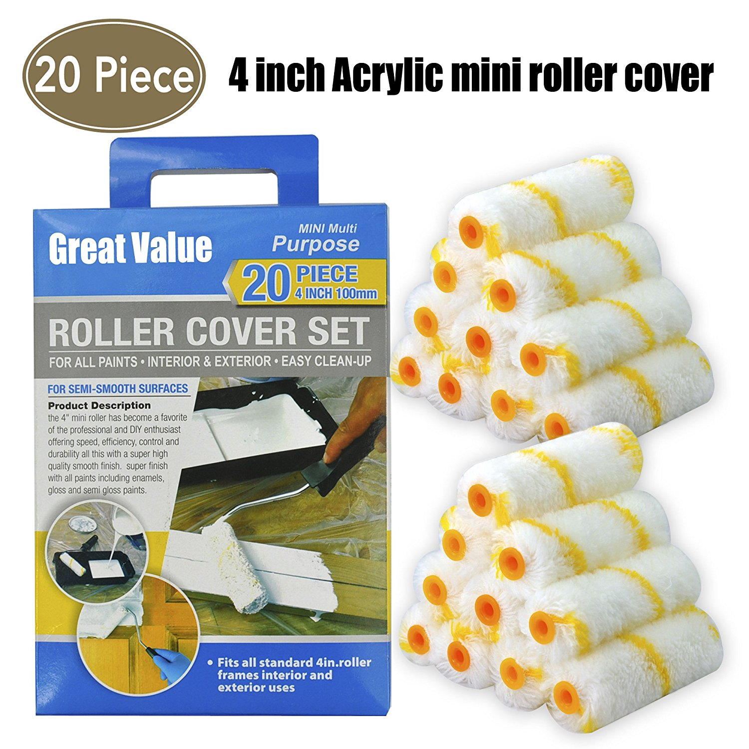 4-Inch Paint Roller Covers,Painters Roller,Painters Tools 20 Piece for All Paints,Acrylic Mini Paint Roller,Paint Roller Refills,Paint Rollers,Paint Roller,Paint Roller Cover,Roller Covers,Tools
