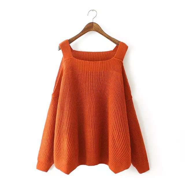 Europe station 2015 autumn new fashion sexy strapless long-sleeved knit sweater wild female loose T-shirt