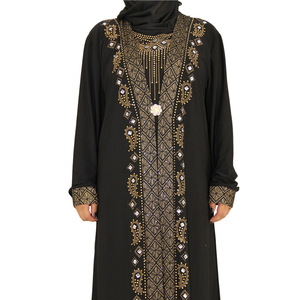 2018 New arrival front open kaftan dubai abaya Ladies Wholesale Maxi Muslim Dress