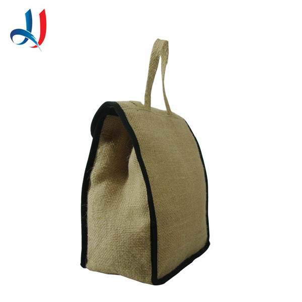 pretty Insulated Fold Up Lunch Bag Made from Ramie Leaf and Jute Plant Blend
