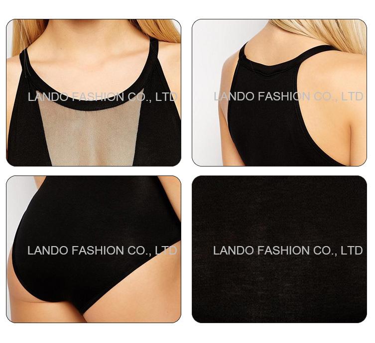 Sexy Lady Viscose Fabric See Through Mesh Deep V Slim Bodysuit Women Sexy