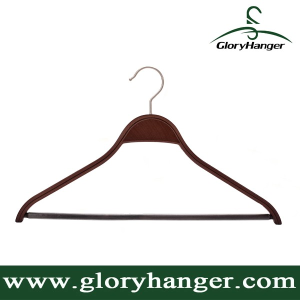 Laminated Wooden Vintage Clothing Hanger With Trouser Bar