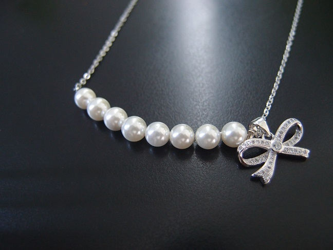 Modern Pearl Bow Necklace Latest Design Pearl Jewelry Pearl Chain Necklace