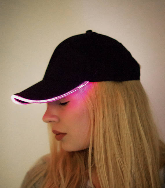 Glow in the dark optical fiber led light party club hat baseball snapback cap
