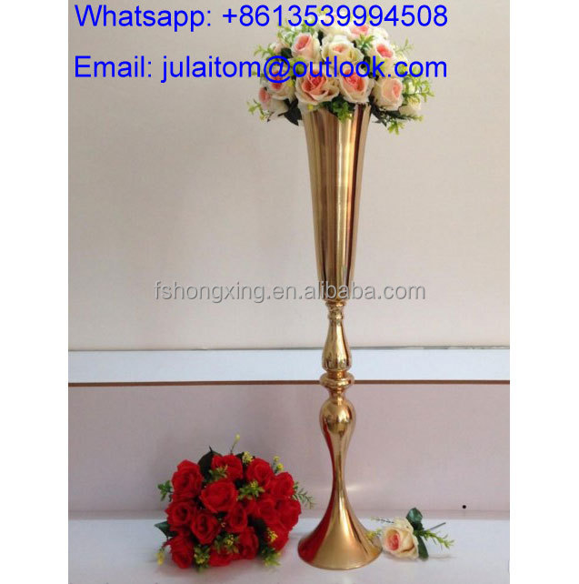 tall gold wedding metal vase centerpiece