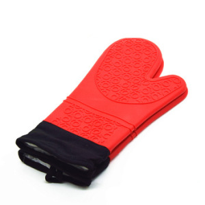 Best selling Heat Resistant Kitchen Cooking Silicone Glove Oven Mitts, short Waterproof BBQ Glove