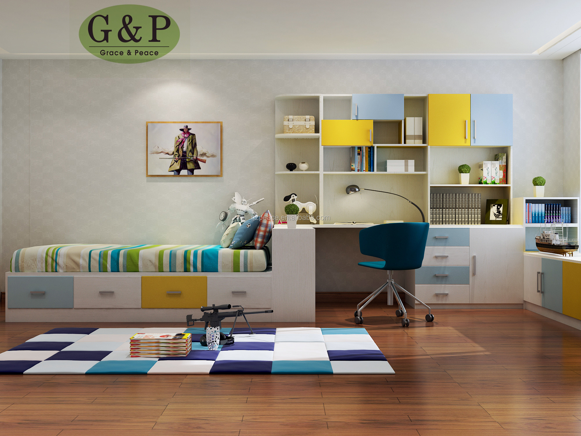 Modern Kids Bedroom Furniture Sets For Customize Size And Color Bed Wardrobe And Bookcase Combination Buy Modern Style Kids Bedroom Furniture Blue