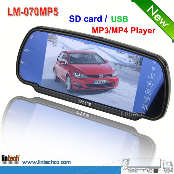 "China supplier 7 inch new model 7"" rearview mirror monitor with gps bt sd dvr (LM-070MP5)"