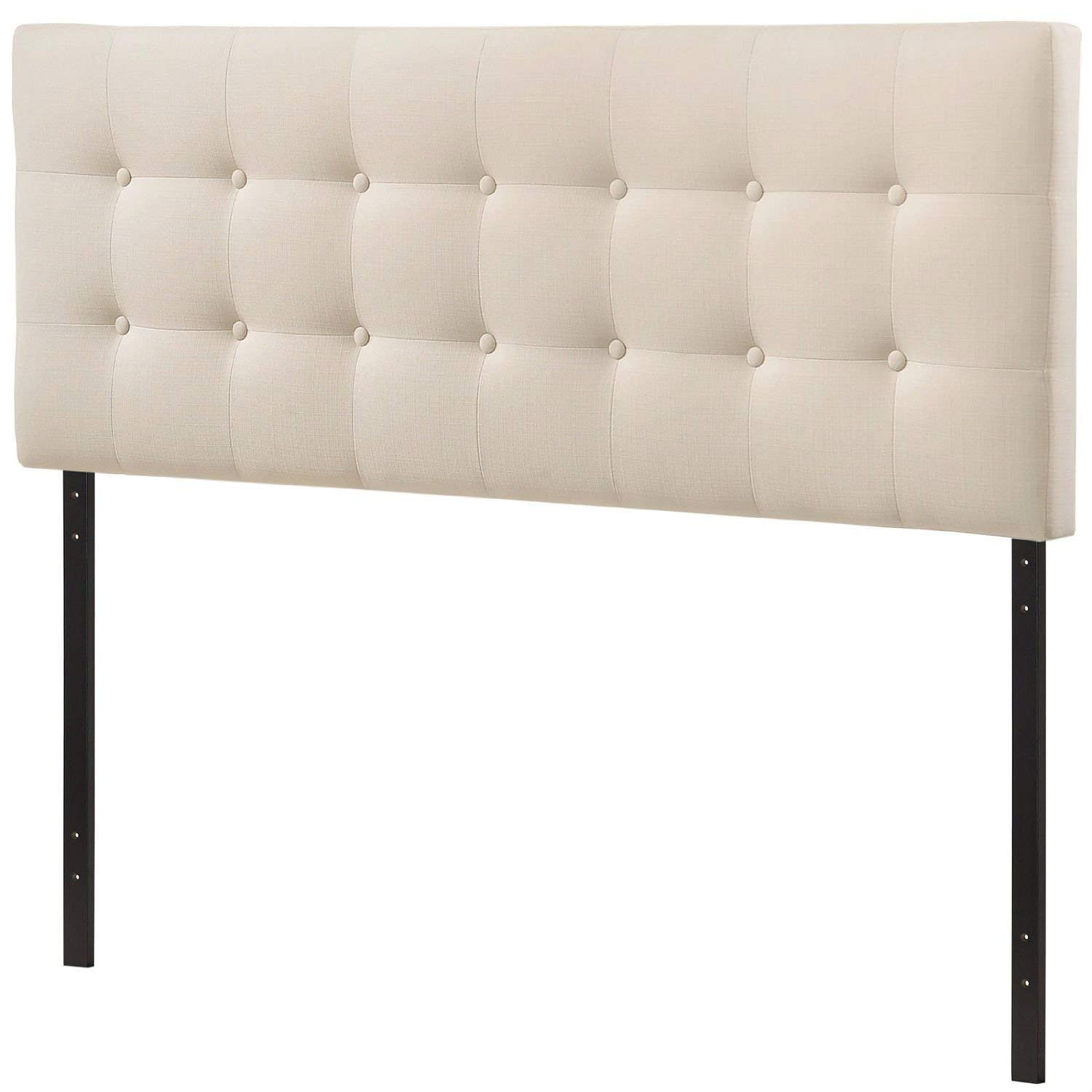 StarSun Depot Full Size Ivory Fabric Upholstered Button-Tufted Headboard