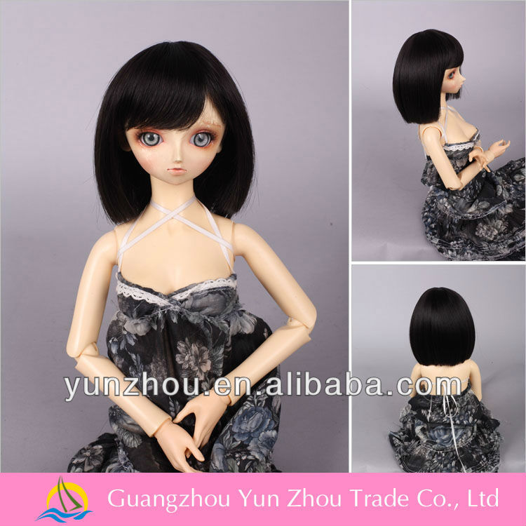 Good quality synthetic fiber soft black doll wig