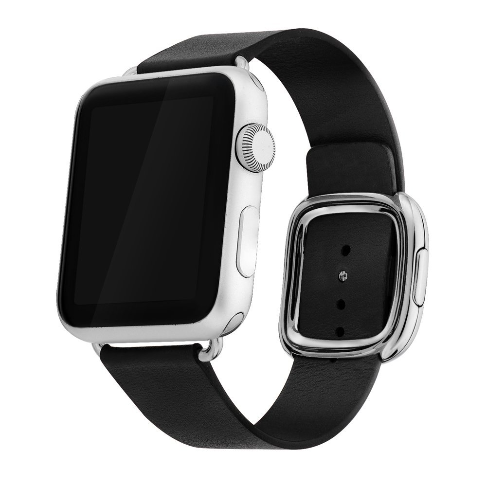 Apple Watch Band 38mm Series 1/Series 2, Bandkin Large Modern Buckle Band with Genuine Leather Strap for iWatch (38mm Black)
