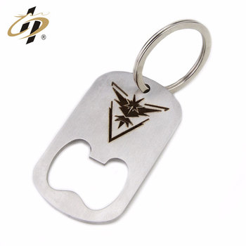 2019 Wholesale cheap custom die casting silver rectangle printed logo keychain beer bottle opener