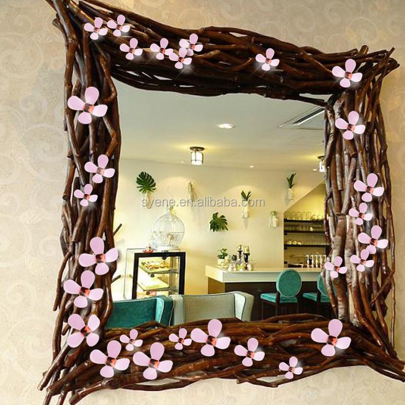 Syene 3d Flower Wall Art Decorative Wall Stickers Blue Mirror ...
