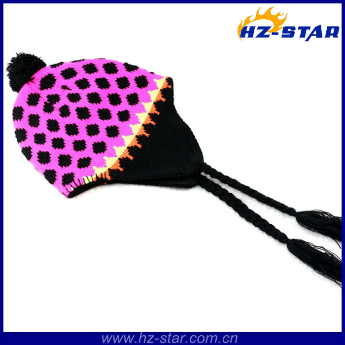 HZM-12252 knitted acrylic cheap promotional peruvian bright colored dots hats