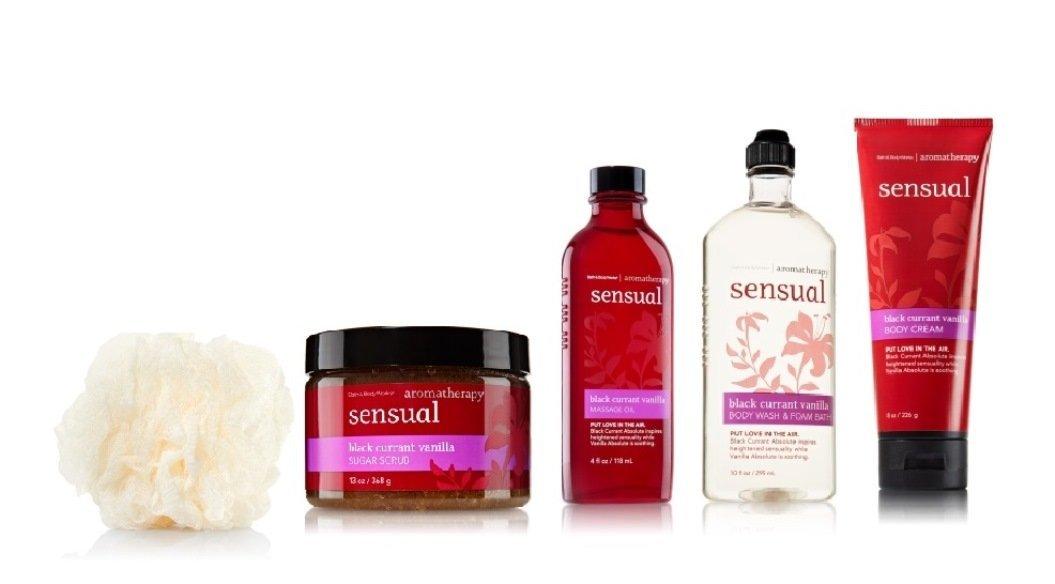 Bath & Body Works ~ Aromatherapy Heightens Sensuality ~ Black Currant Vanilla ~ 5 Piece Spa Day Getaway Gift Set ~ Shower Sponge ~ Sugar Scrub ~ Massage Oil ~ Body Wash/foam Bath & Body Cream