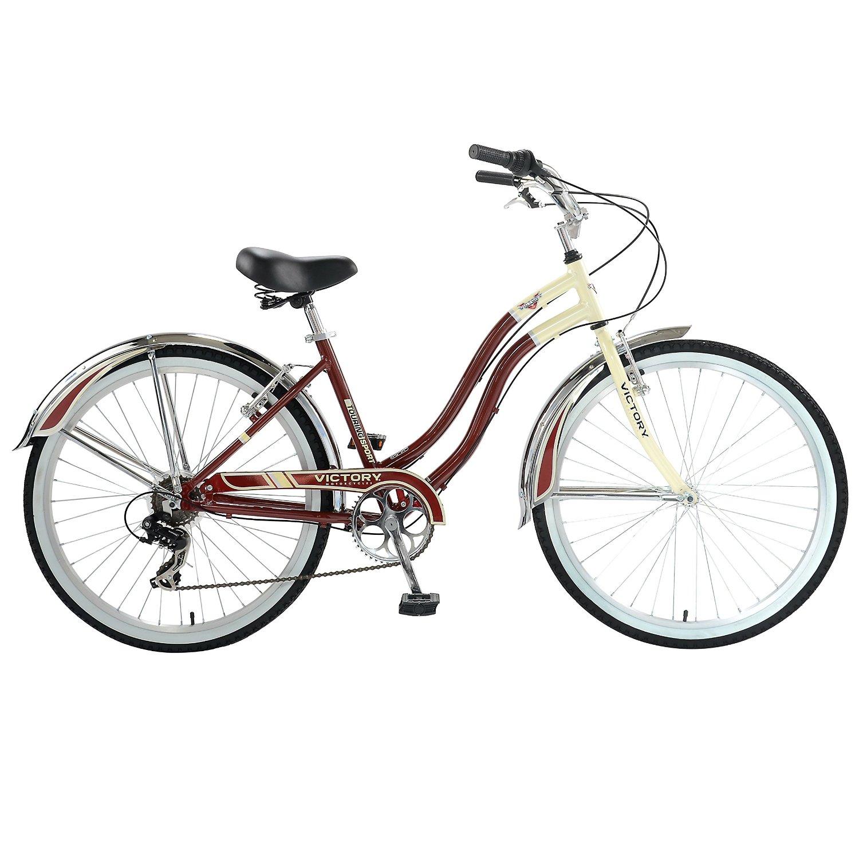 Victory Touring Sport 7L Cruiser Bike 26 inch Wheels, 17 inch Frame, Womens' Bike, Burgundy