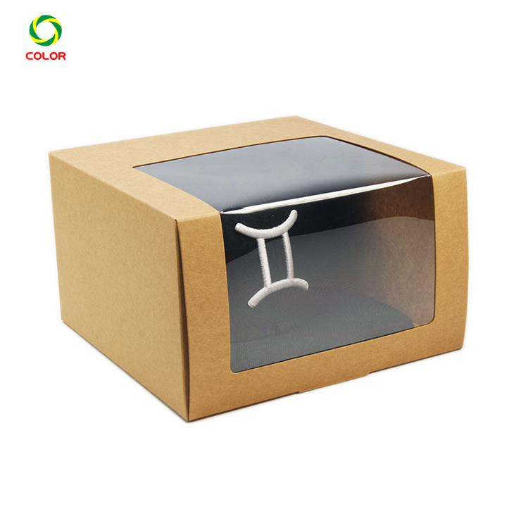 Cheap Custom Printing Kraft Hat Packaging Box With Clear Window