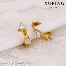 25125 xuping elegant simple design gold filled red diamond stone zirconia women's earring