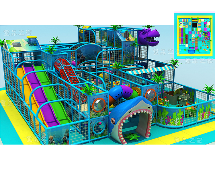Lldpe plastic ocean theme indoor playground jungle gyms for Indoor gym equipment for preschool