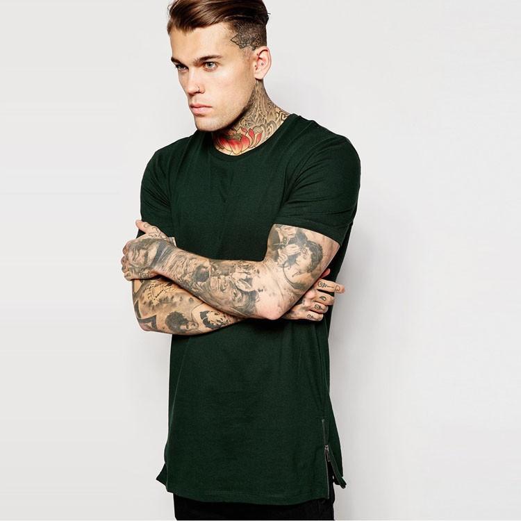 Mens Zip Longline T-shirt,Both Side Zip T-shirt,Mens Stylish ...