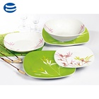 turkish food approach safe white porcelain 24pcs square dinner set