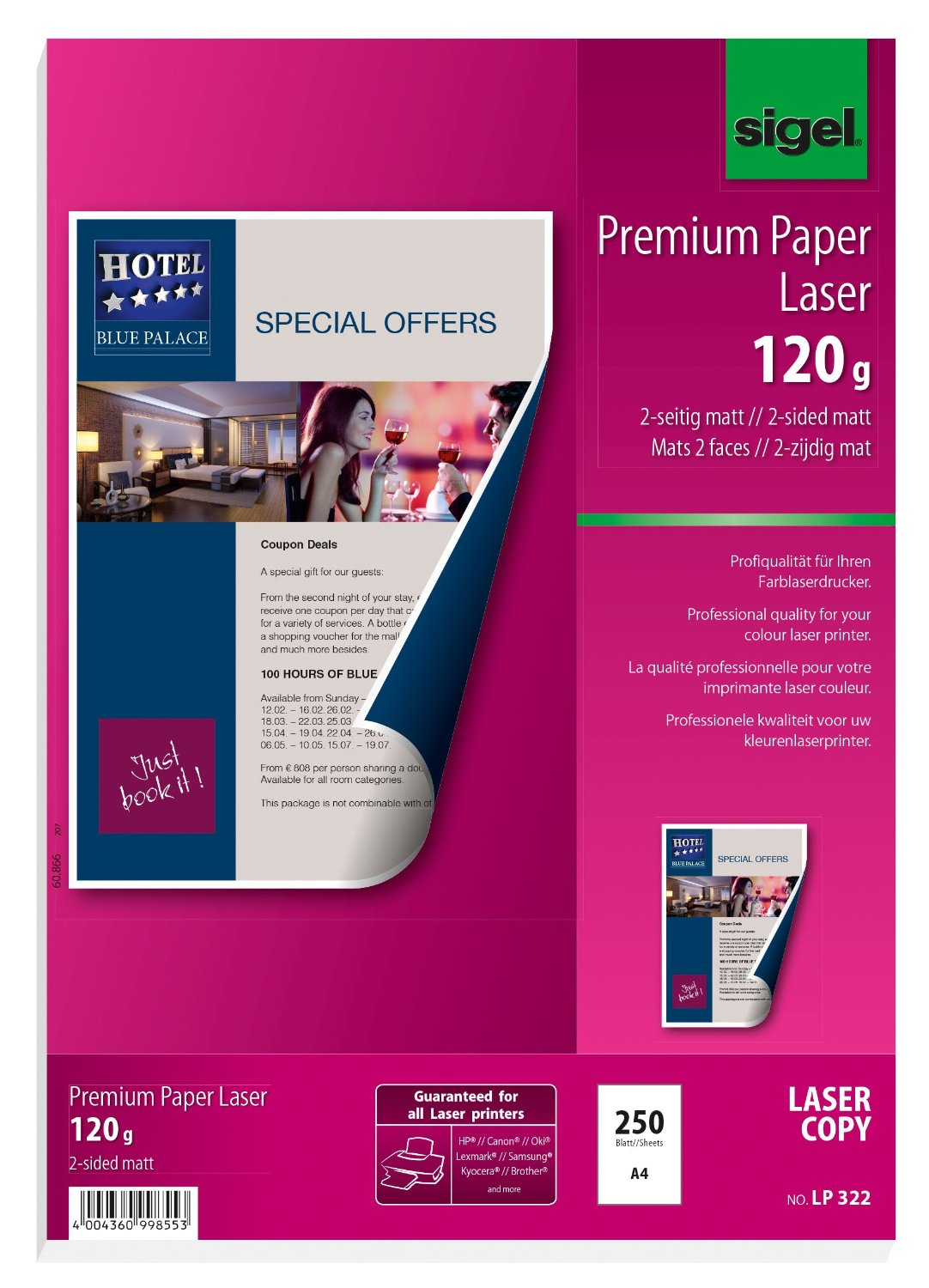 Sigel LP322 Premium Quality Paper for Colour Laser/Copier, 2-sided matt, 81.1 lbs, A4, 250 sheets