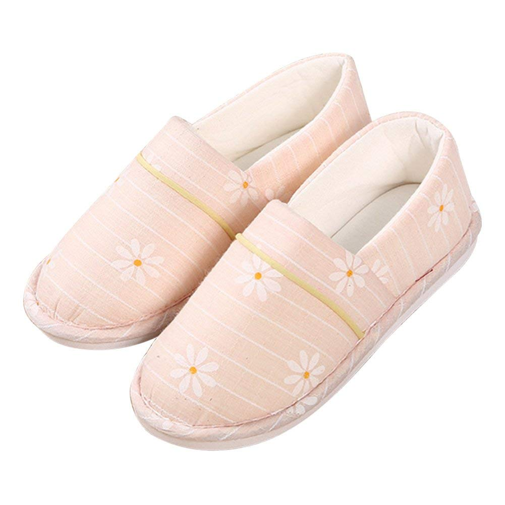 BUYITNOW Women's Cotton Soft Sole Washable Anti-Skid Cozy House Shoes Slippers for Pregnant, Diabetic, Edema