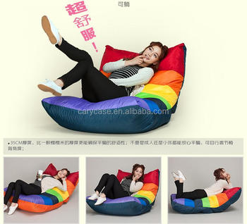 FOLDABLE Deluxe Rainbow Bean Bag Chair, Waterproof Adults Seat Lounger    Stylish Sitsack