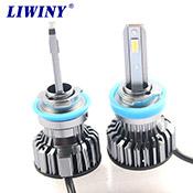 liwiny auto parts guangzhou car lights led bulbs headlight h4 9006 4 sides 360 led h11 6000k