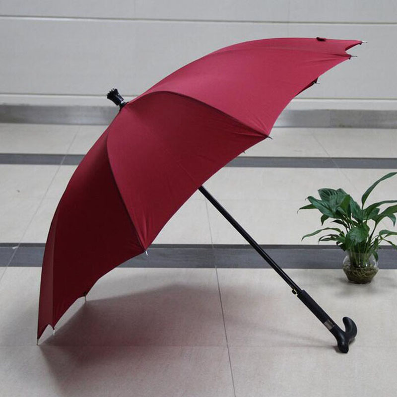 Umbrella Anti-skidding Outdoor Climbing Crutch Walking Stick Windproof Rain Umbrellas Gift For Old Man