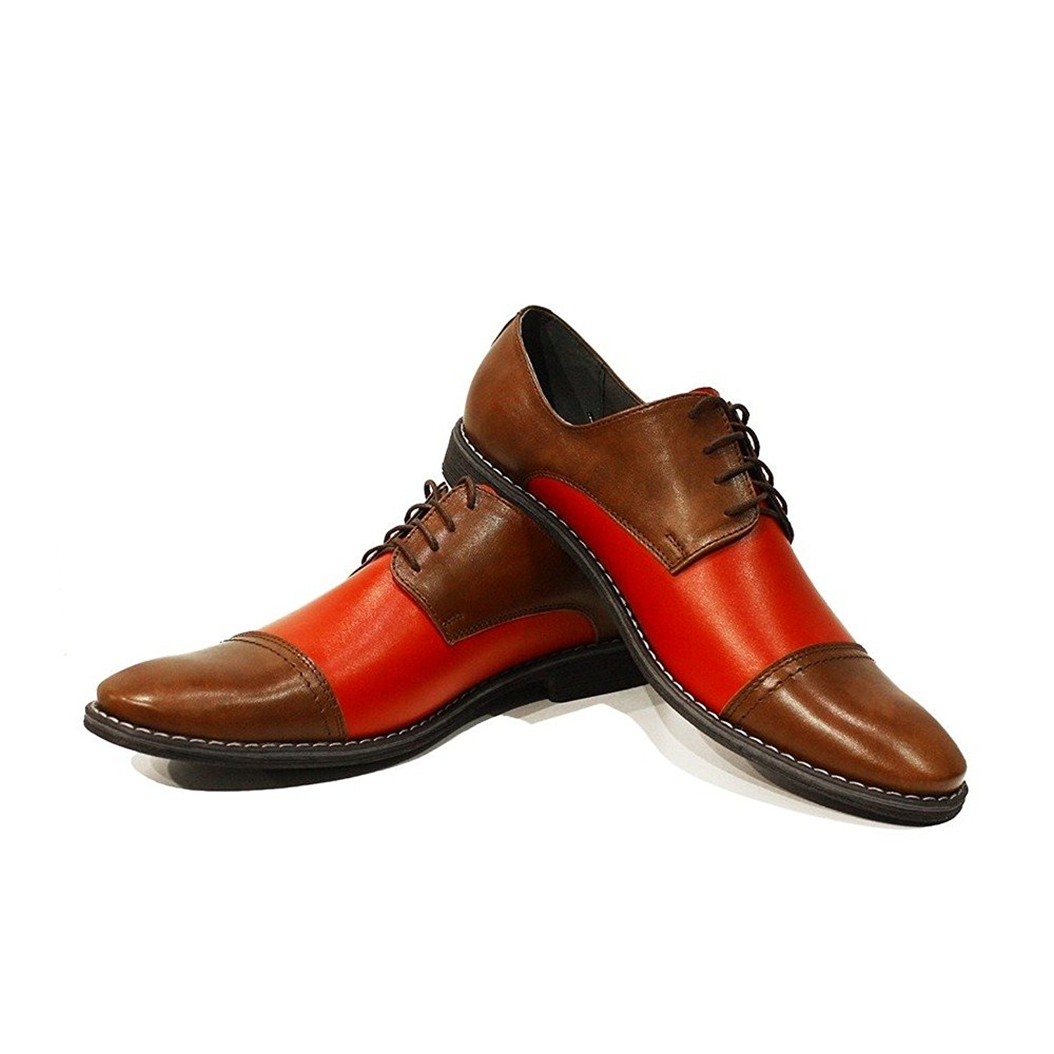 Modello Elia - Handmade Italian Mens Red Oxfords Dress Shoes - Cowhide Smooth Leather - Lace-up
