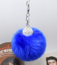 Colorful Pom Pom Keychain Bag Charm Faux Rabbit Fur Pompom Ball