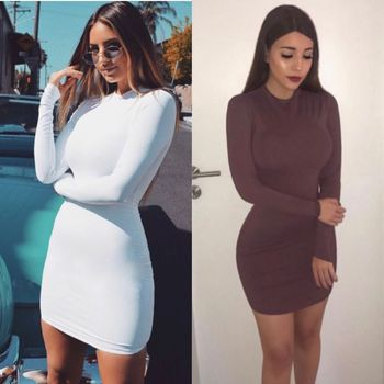 2019 New Design Autumn Female O-neck Sexy Casual Bodycon Dress