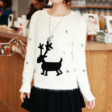 New Fashion Women Knitted Christmas Sweater Reindeer Snowflakes Pattern Round Neck Fluffy Mohair Pullover White/Dark Blue