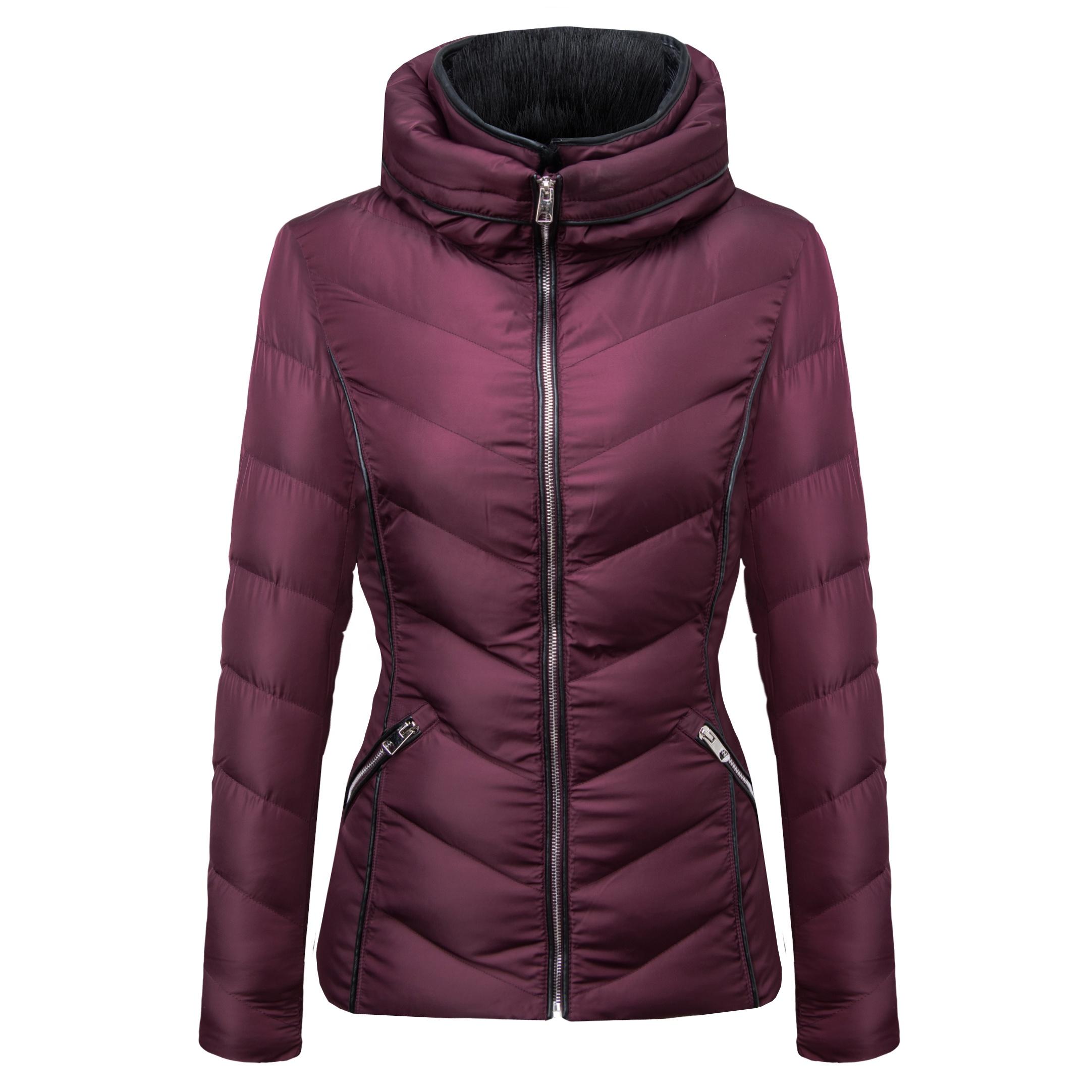 แฟชั่นแจ็คเก็ตสกี Bubble ผู้หญิงสุภาพสตรีฤดูหนาวและฤดูใบไม้ร่วง Parka Coat ผู้หญิงลงเสื้อหลวมเสื้อปักเป้ากับขนสัตว์