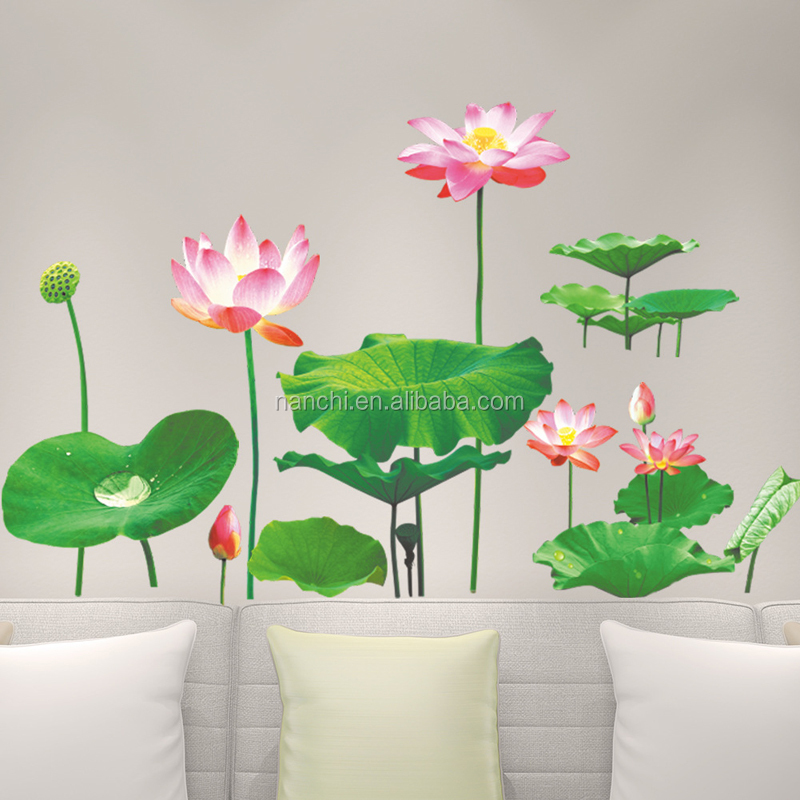 3D Lotus wall decals children room living room bedroom home decorative wall sticker waterproof removable wall murals