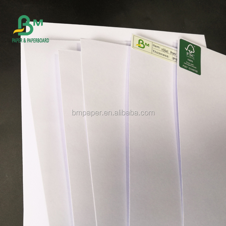 FSC Certified 55gsm 60gsm White Offset Paper 65x100cm Sheet Size Writing Paper