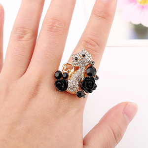 Alloy gold plated ring cute diamond cat shaped adjustable finger ring