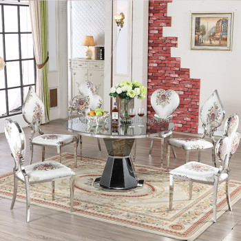 French Style Royal Stainless Steel Chairs Frame Fabric Dining Room Chairs