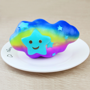Mskwee jumbo Rainbow Clouds Squishy Toys Slow Rising Jumbo Smile Star DIY Scented Bread Kid Squeeze Toys