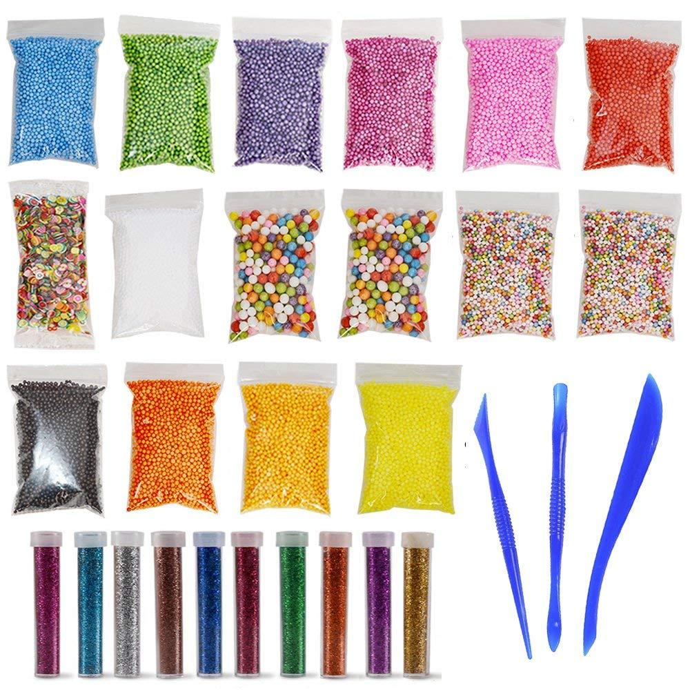 Foam Beads for DIY Slime–Slime Making kit,Including 15 Bags (60000) Color Foam Balls, 1000 pcs Fruit Slice ,10 Bottles Glitter Powder, 3 Slime Tools ,for Slime Making Art DIY Craft(Not Contain Slime)